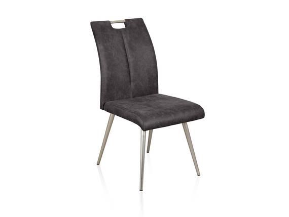 SPICKY Vierfußstuhl, Sitz mit Gurtunterfederung, Material Microfaser/Metall grau DETAIL_IMAGE
