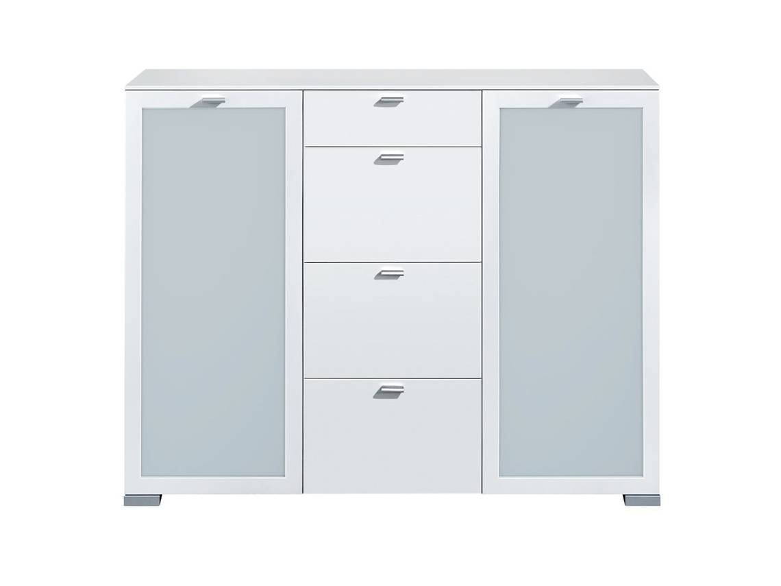 arte m gallery highboard 2 t ren mit milchglas 4 schubk sten weiss. Black Bedroom Furniture Sets. Home Design Ideas