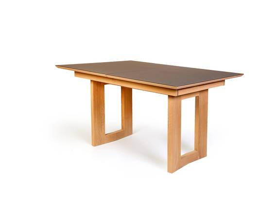 KARL Esstisch aus massiver Eiche mit stabiler Holzwange 130x90 cm | Eiche geölt/Glas grau  DETAIL_IMAGE