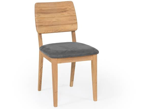 NETRON Esstischstuhl, Material Massivholz/Bezug Kunstleder Eiche | grau DETAIL_IMAGE