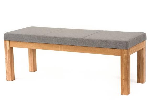 SALIMA II Sitzbank, Material Massivholz/Stoffbezug Eiche   130 cm   ohne Rückenlehne   grau DETAIL_IMAGE