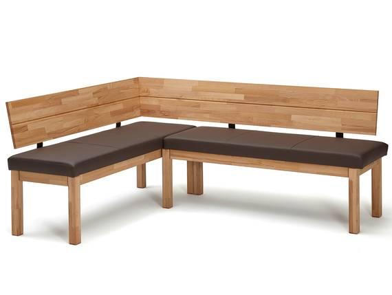RENALDO Eckbank, Material Massivholz, Kernbuche geölt 155 x 194 cm | Kunstleder dunkelbraun DETAIL_IMAGE