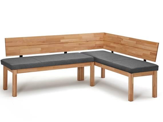 RENALDO Eckbank, Material Massivholz, Kernbuche geölt 194 x 155 cm | Stoff grau DETAIL_IMAGE