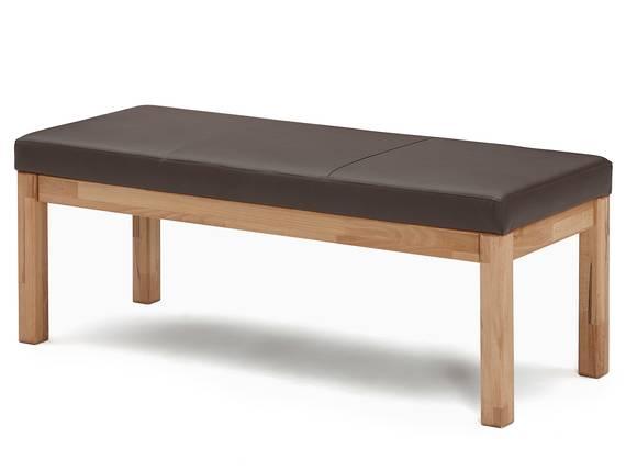 RENALDO Sitzbank, Material Massivholz, Kernbuche geölt 130 cm | ohne Rückenlehne | Kunstleder braun DETAIL_IMAGE