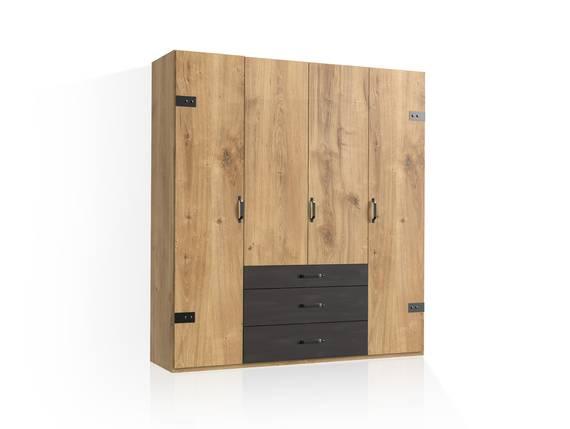 DASTY Drehtürenschrank, Material Dekorspanplatte, plankeneichefarbig/dunkelgrau 200 cm | ohne Spiegel DETAIL_IMAGE