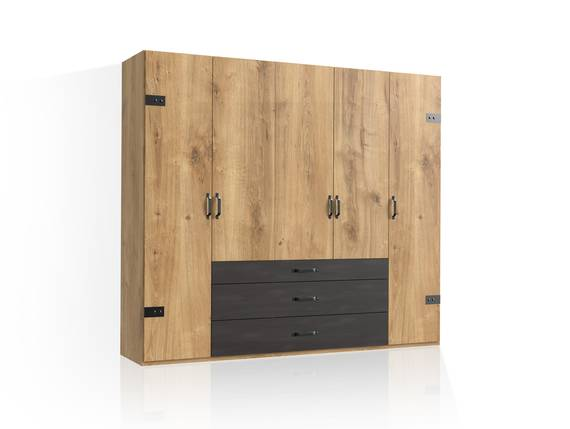 DASTY Drehtürenschrank, Material Dekorspanplatte, plankeneichefarbig/dunkelgrau 250 cm | ohne Spiegel DETAIL_IMAGE
