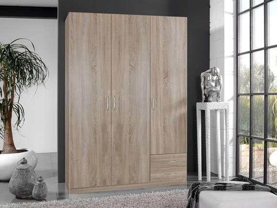 SWEN Kleiderschrank 3-türig, Material Dekorspanplatte eichefarbig sägerau | 198 cm DETAIL_IMAGE
