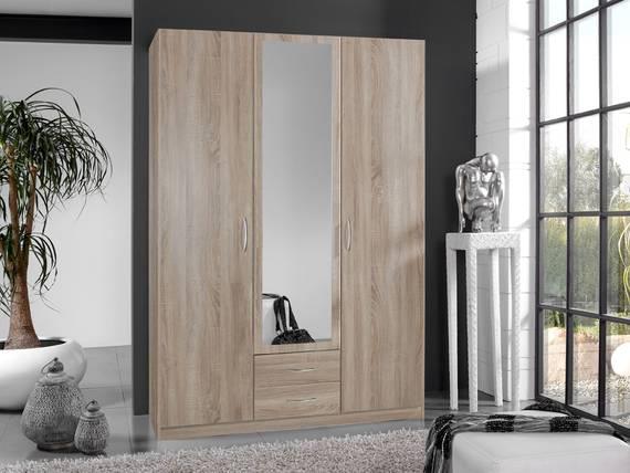 SWEN Kleiderschrank mit Spiegel, Material Dekorspanplatte 135 cm (3-türig) | eichefarbig sägerau DETAIL_IMAGE