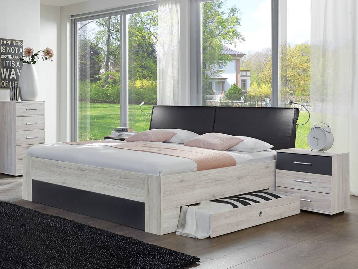 armenia bett mit sk 180x200 cm wei eiche anthrazit. Black Bedroom Furniture Sets. Home Design Ideas