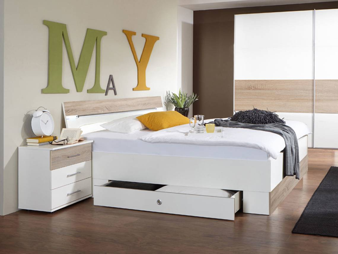 cheek doppelbett inkl bettkasten weiss eiche s gerau. Black Bedroom Furniture Sets. Home Design Ideas