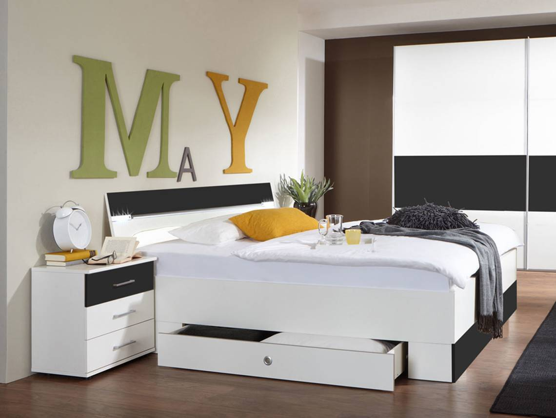 cheek doppelbett inkl bettkasten weiss anthrazit. Black Bedroom Furniture Sets. Home Design Ideas