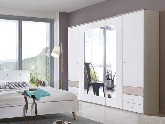 BATIDA Drehtürenschrank mit Spiegeltür, Material Dekorspanplatte weiss/eichefarbig sägerau DETAIL_IMAGE