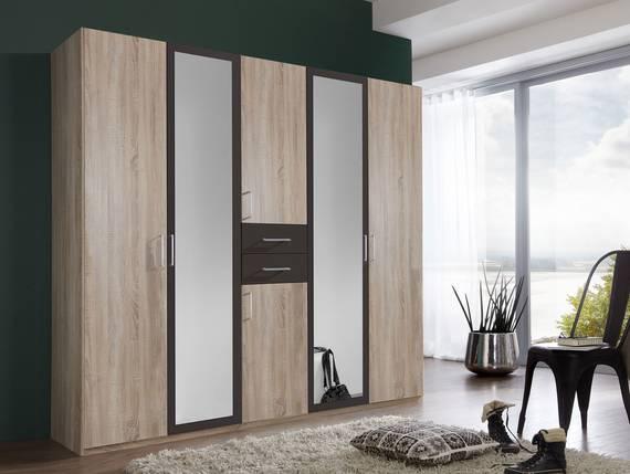 DUSTIN Kleiderschrank mit Spiegeltür, Material Dekorspanplatte 225 cm   eichefarbig sägerau/lavafarbig DETAIL_IMAGE