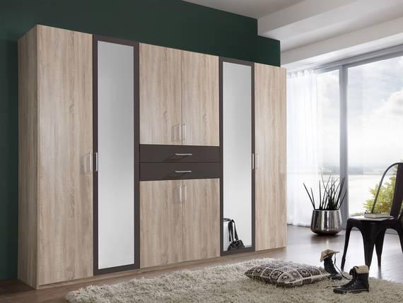 DUSTIN Kleiderschrank mit Spiegeltür, Material Dekorspanplatte 270 cm   eichefarbig sägerau/lavafarbig DETAIL_IMAGE