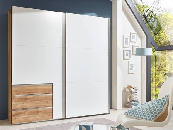 lakota schwebet renschrank weiss plankeneiche 200 cm. Black Bedroom Furniture Sets. Home Design Ideas