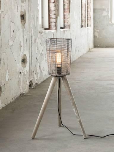 LEVI Stehlampe klein schmal mit Korb Holzbeine  DETAIL_IMAGE
