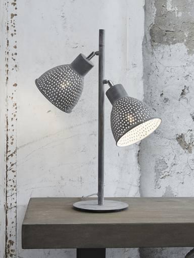 IRON Tischlampe mit 2 Lampen grau DETAIL_IMAGE