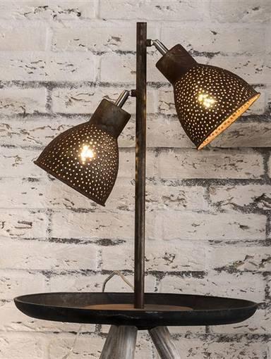 IRON Tischlampe mit 2 Lampen braun DETAIL_IMAGE