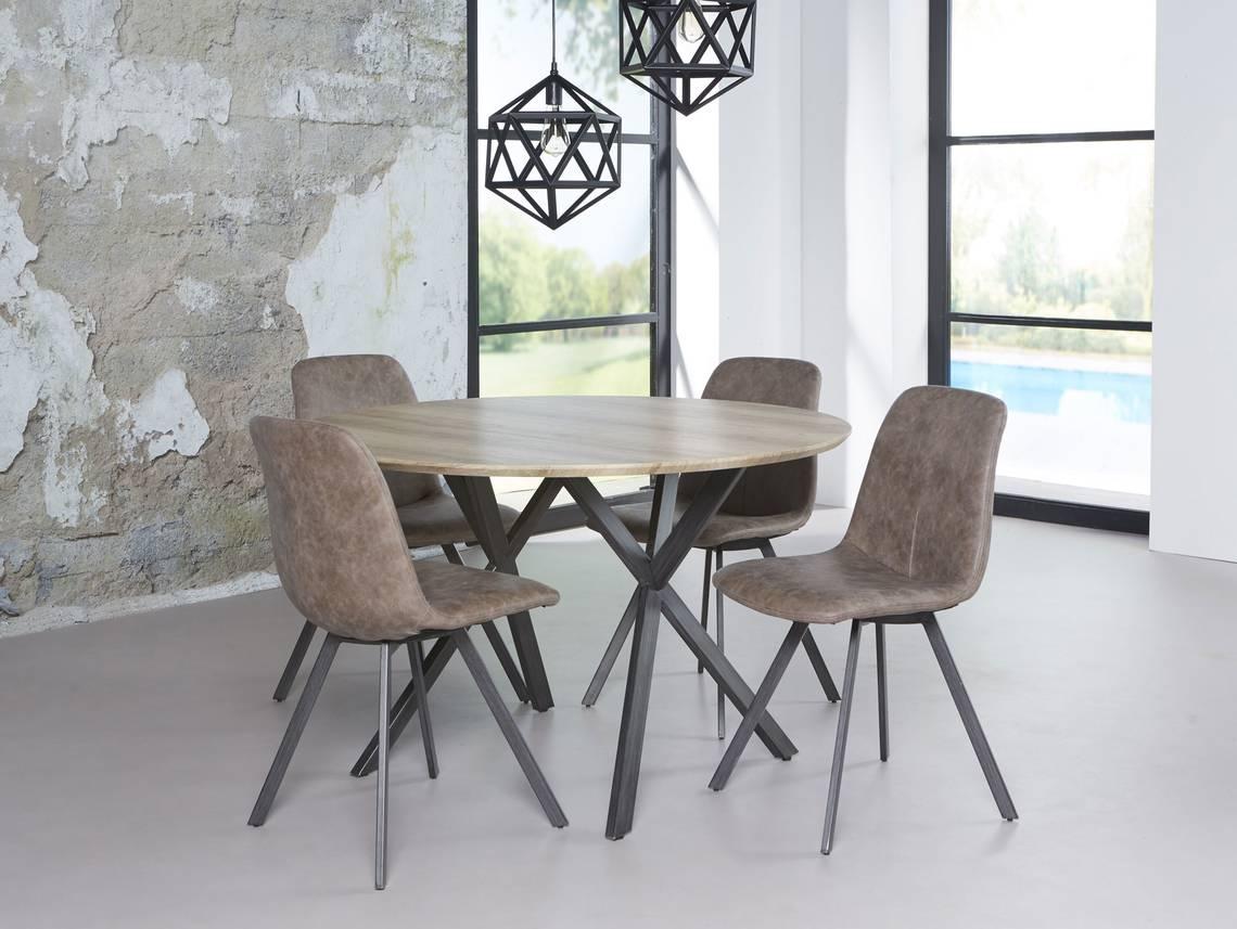 julian esstisch rund 120 cm gestell schwarz eiche. Black Bedroom Furniture Sets. Home Design Ideas