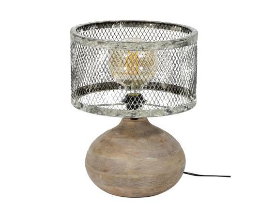 GREMI Tischlampe klein Gitterschirm mit Holzfuß  DETAIL_IMAGE