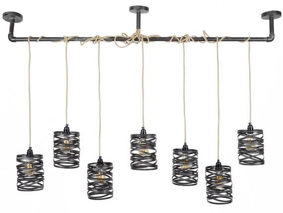 VINNY II Pendelleuchte mit 7 Leuchten, Material Metall, schiefergrau  DETAIL_IMAGE