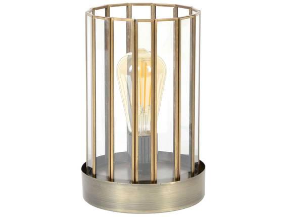 DOBS Tischlampe mit Glas/Metallsockel bronzefarbig antik  DETAIL_IMAGE