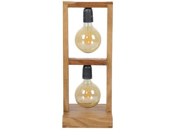 FAHRO Tischlampe mit 2 Leuchten, Akazie massiv  DETAIL_IMAGE