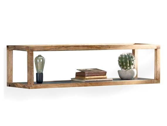FAHRO Hängeregal mit integrierter Lampe, Material Massivholz, Mango  DETAIL_IMAGE
