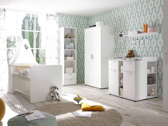bambino komplett babyzimmer 5 teilig wei. Black Bedroom Furniture Sets. Home Design Ideas