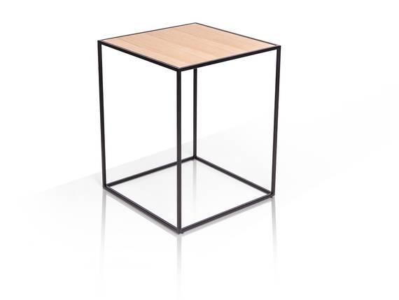MEGGY Beistelltisch 40x40 cm, Material Metall, mit Platte in Eicheoptik eichenfarbig DETAIL_IMAGE