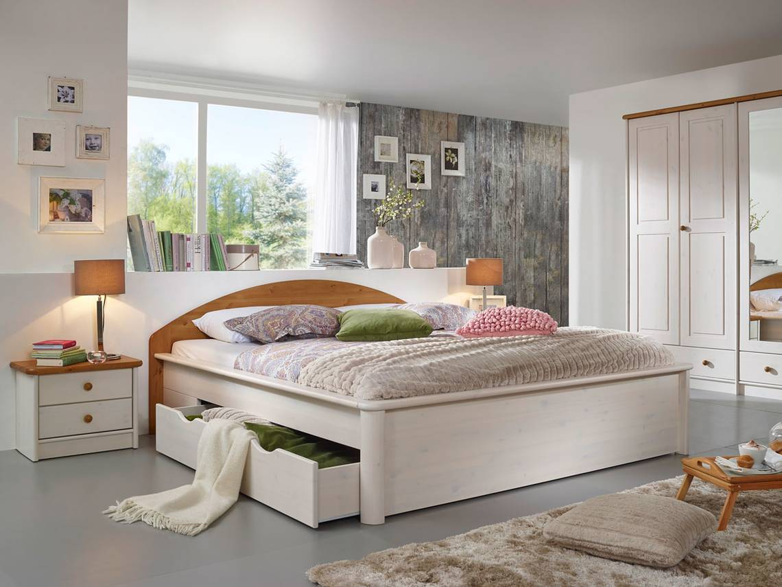 sky massivholzbett doppelbett kiefer weiss eichefarbig. Black Bedroom Furniture Sets. Home Design Ideas