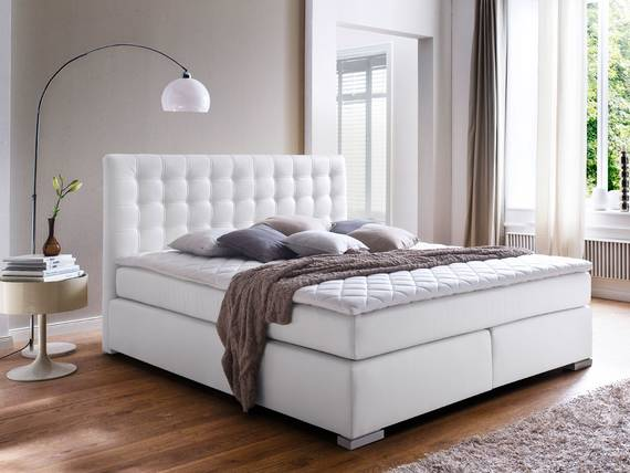 isabell boxspringbett 180 x 200 cm weiss h rtegrad 2 3. Black Bedroom Furniture Sets. Home Design Ideas