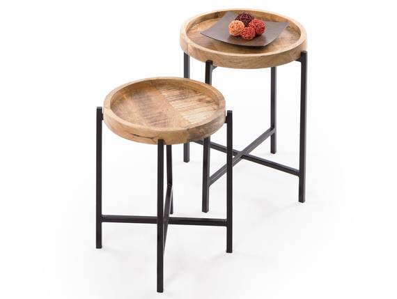 LOPAKA Beistelltische,  2er Set, Material Mango massiv/Metall schwarz  DETAIL_IMAGE