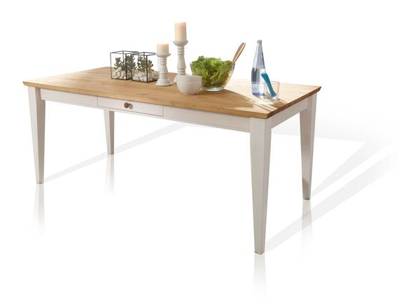 BORNHOLM Esstisch 180x90 cm, Material Massivholz, Kiefer weiss/eichefarbig  DETAIL_IMAGE