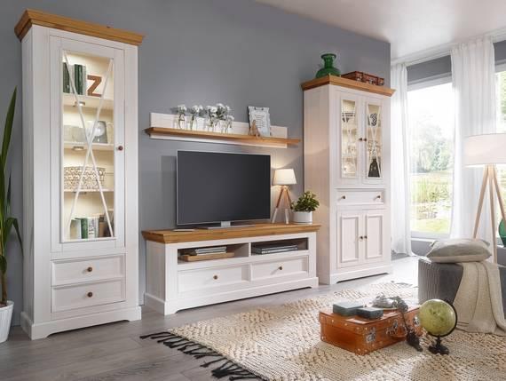 bornholm wohnwand material massivholz kiefer weiss eichefarbig. Black Bedroom Furniture Sets. Home Design Ideas