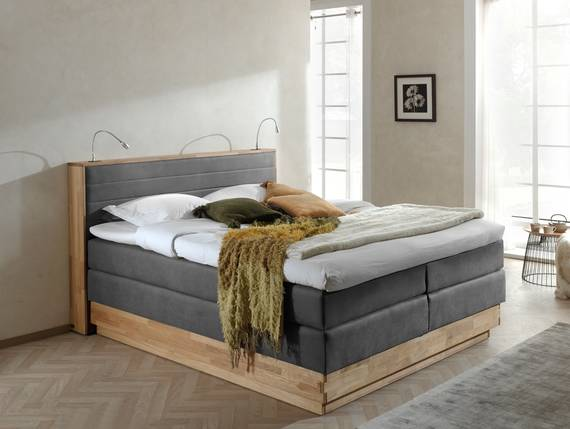 menota boxspringbett im vintage look mit bettkasten 180 x 200 cm grau h rtegrad 3. Black Bedroom Furniture Sets. Home Design Ideas