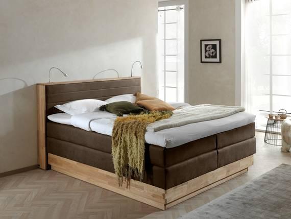 MENOTA Boxspringbett im Vintage Look mit Bettkasten 180 x 200 cm | braun | Härtegrad 3 DETAIL_IMAGE