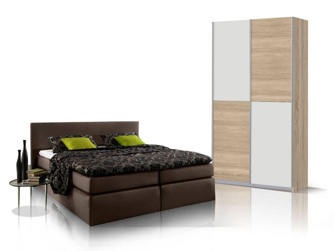 oreno schlafzimmerset schrank und boxspringbett braun 140x200 cm eiche sonomafarbig weiss. Black Bedroom Furniture Sets. Home Design Ideas
