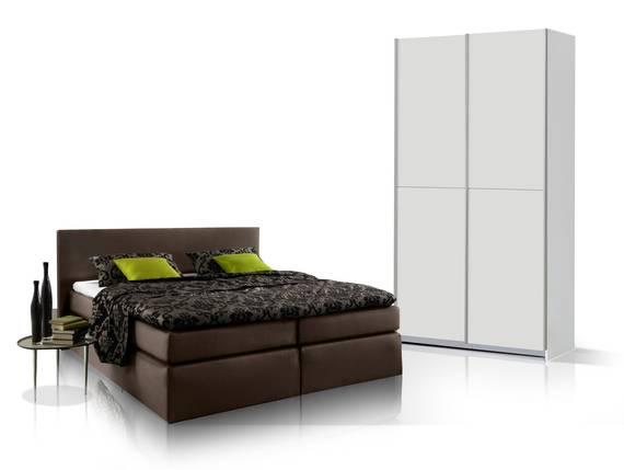 ORENO Schlafzimmerset - Schrank und Boxspringbett braun | 140x200 cm | weiss DETAIL_IMAGE