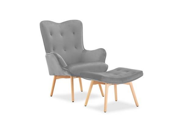 SANTOR Relaxsessel / Polstersessel mit Hocker, Bezug Samt grau DETAIL_IMAGE