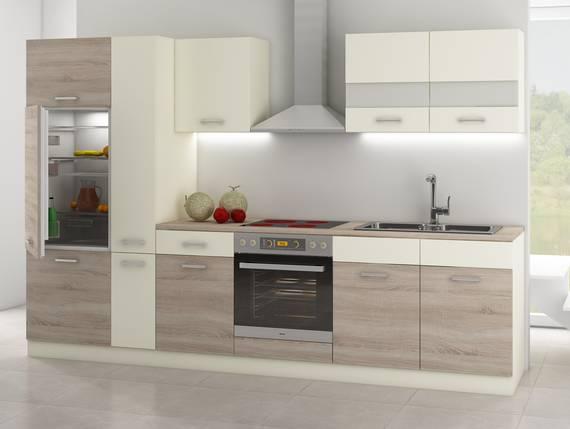 CALINA Küchenblock inkl. Apothekerschrank, Material Dekorspanplatte Eiche Sonoma trüffelfarbig/Creme  DETAIL_IMAGE
