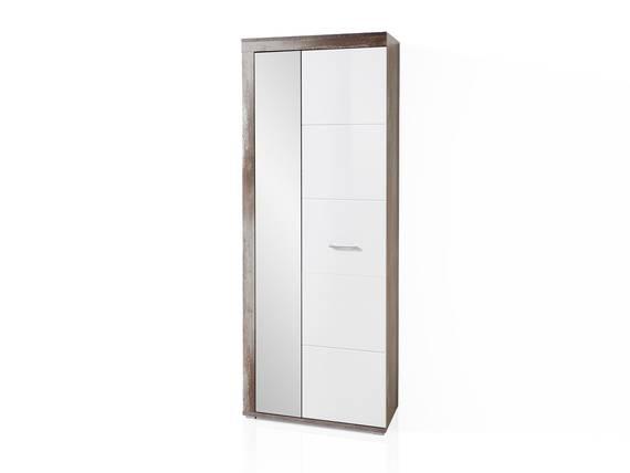 CAMENA Garderobenschrank mit Spiegel, Material MDF weiss/Driftwood Nachbildung DETAIL_IMAGE
