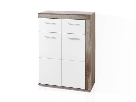 CAMENA Schuhschrank, 2-türig mit Schubkasten, Material MDF weiss/Driftwood Nachbildung DETAIL_IMAGE