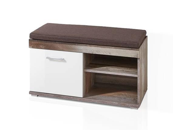 CAMENA Garderobenbank inkl. Sitzkissen, Material MDF weiss/Driftwood Nachbildung DETAIL_IMAGE