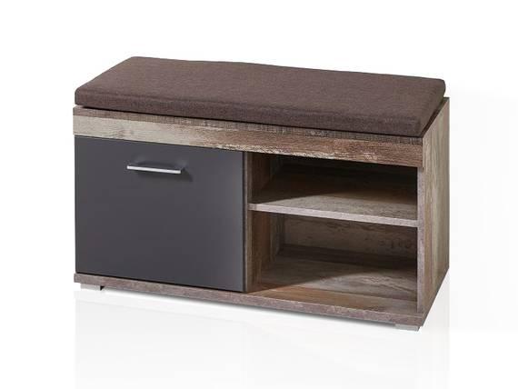 CAMENA Garderobenbank inkl. Sitzkissen, Material MDF graphitfarbig/Driftwood Nachbildung DETAIL_IMAGE