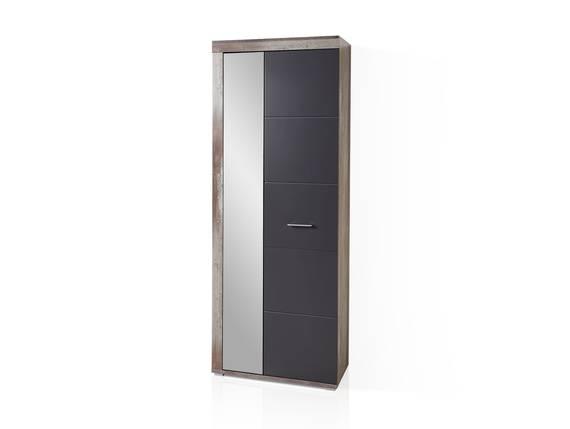 CAMENA Garderobenschrank mit Spiegel, Material MDF graphitfarbig/Driftwood Nachbildung DETAIL_IMAGE
