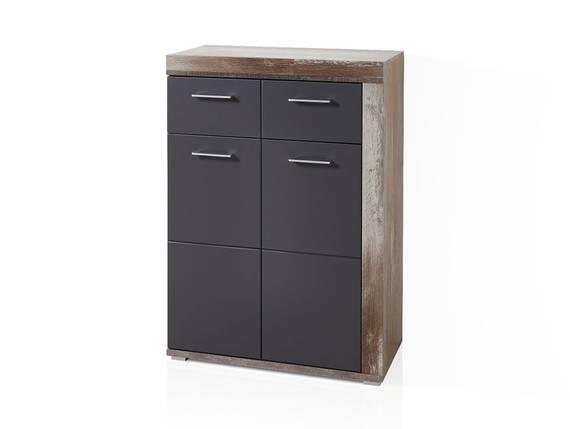 CAMENA Schuhschrank, 2-türig mit Schubkasten, Material MDF graphitfarbig/Driftwood Nachbildung DETAIL_IMAGE