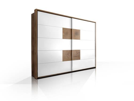 CAMERON Schwebetürenschrank, Material Dekorspanplatte wildeichefarbig/weiss DETAIL_IMAGE