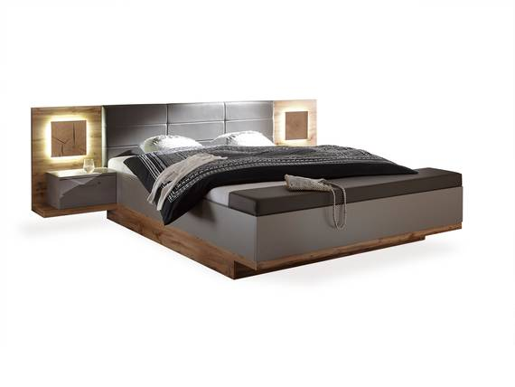 CAMERON XL Bettanlage inkl. Nachtkommoden und Sitztruhe, Material MDF eichefarbig/basaltgrau DETAIL_IMAGE