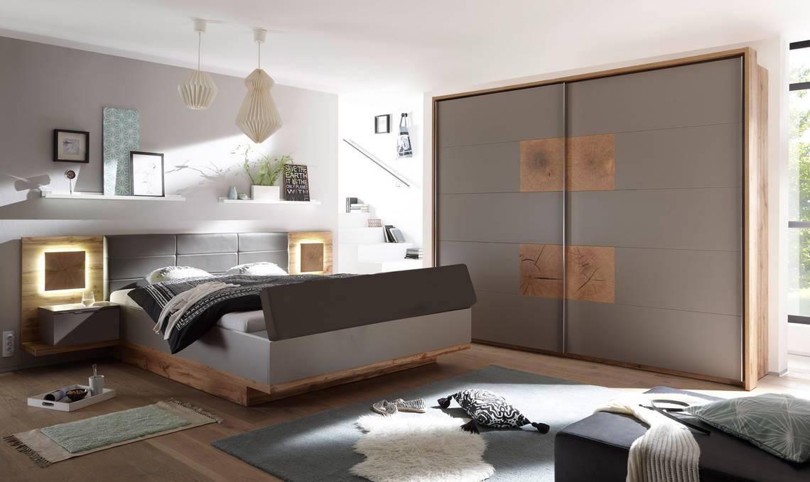 cameron ii schlafzimmer mit betttruhe wildeiche nachbildung mdf basaltgrau. Black Bedroom Furniture Sets. Home Design Ideas